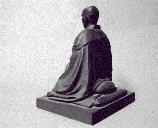 Monk sitting on a grey textured background, digital image by Ven. Anzan Hoshin roshi