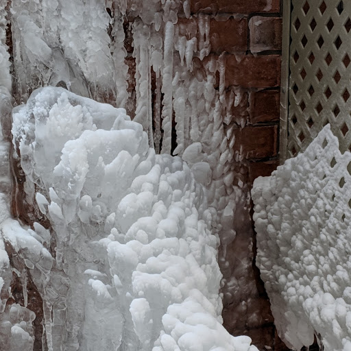 Icy brick wall, photograph by Ven. Jinmyo Renge osho-ajari