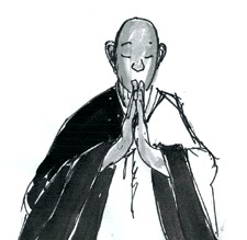 Drawing of monks bowing in gassho