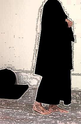 treated photo of a monk doing kinhin