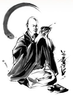Drawing of a monk lifting a bowl in front of his face in oryoki